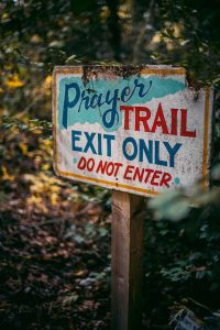 prayer trail sign at pwm campus