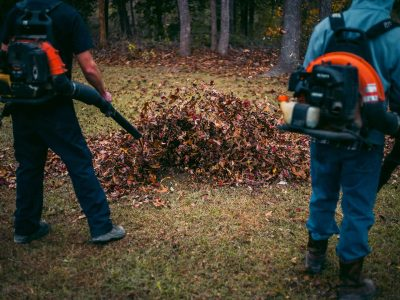 guys blowing leaves at pwm campus